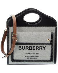 Burberry Mini Canvas & Leather Satchel - Black