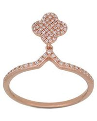 Diana M. Jewels - . Fine Jewelry 14k Rose Gold 0.21 Ct. Tw. Diamond Dangle Ring - Lyst