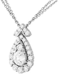Hearts On Fire 18k 1.60 Ct. Tw. Diamond Aerial Victorian Halo Drop Necklace - Metallic