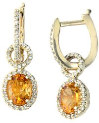 Effy - 14kt. Yellow Gold Citrine And Diamond Drop Earrings - Lyst