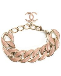 Chanel Gold-tone Cc Leather Curb Chain Link Bracelet, Nwt - Metallic