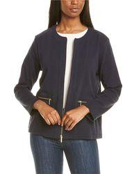 Joan Vass Petite Zip Jacket - Blue