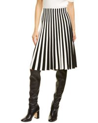 Akris Punto Striped A-line Skirt - Black
