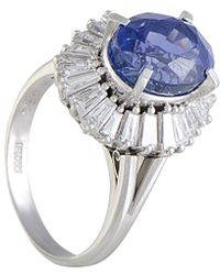 Heritage Platinum 9.17 Ct. Tw. Diamond & Sapphire Ring - Metallic