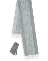 Calvin Klein Three-piece Textured Scarf And Touch Gloves Set - Gray