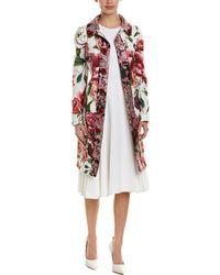 Dolce & Gabbana Jacquard Silk-blend Coat - White