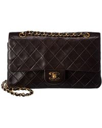 Chanel Black Quilted Lambskin Leather Small Double Flap Tote