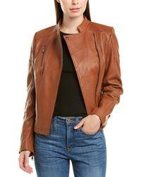Sam Edelman Stand Collar Leather Jacket - Brown