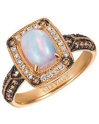 Le Vian Chocolatier 14k Rose Gold 1.09 Ct. Tw. Brown & White Diamond & Opal Ring - Metallic