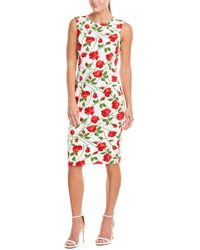 Michael Kors Floral-print Stretch-cady Dress - Red
