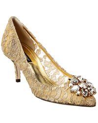 Dolce & Gabbana Crystal Embellished Taormina Lace Pump - Metallic