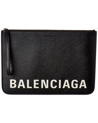 Balenciaga Logo Leather Pouch - Black
