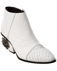 Giuseppe Zanotti Kevan Alligator Jewel Embellished Leather Bootie - White