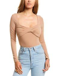 Astr Twist Front Bodysuit - Brown