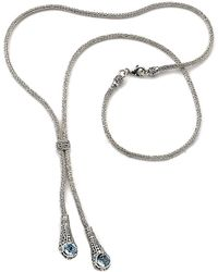 Samuel B. Silver 3.10 Ct. Tw. Blue Topaz 34in Necklace - Metallic