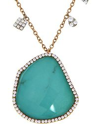 Meira T - 14k Rose Gold & Silver 3.25 Ct. Tw. Diamond & Turquoise Necklace - Lyst