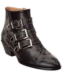 Chloé Susanna Studded Leather Bootie - Black