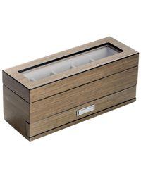 Bey-berk Silver Walnut Wood 5-watch Box - Metallic