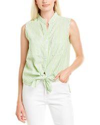 Max Studio Linen-blend Top - Green