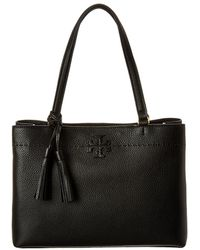 Tory Burch Mcgraw Triple Compartment Leather Satchel - Black