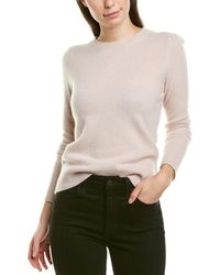 White + Warren Puff-shoulder Sweater - White