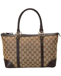 Gucci Brown GG Canvas & Leather Lovely Heart Tote