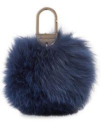 Yves Salomon Four Renard X-large Fur Key Holder - Blue
