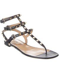 Valentino Rockstud Caged Leather Thong Sandal - Black