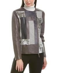 Lafayette 148 New York Toluca Leather & Wool Jacket - Gray