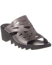 Arche Himara Leather Wedge Sandal - Grey