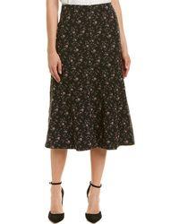 Rebecca Taylor Floral Jacquard Midi Skirt - Black