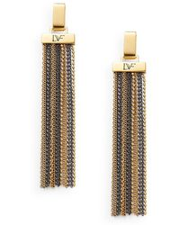 Diane von Furstenberg All The Glitz Chain Tassel Drop Earrings - Metallic