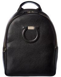Ferragamo Gancini Leather Backpack - Black