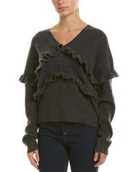 White + Warren Ruffle Trim Cashmere Sweater - Gray
