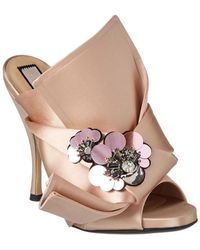 N°21 No. 21 Embellished Satin Knot Sandal - Pink
