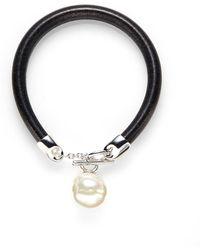 Majorica - 16mm White Baroque Pearl Leather Bracelet - Lyst