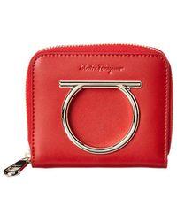 Ferragamo Gancini Small Leather Zip Around Wallet - Red