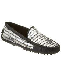 Tod's Gommino Embellished Leather Loafer - Black