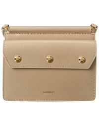 Burberry Mini Leather Title Bag With Pocket Detail - Natural