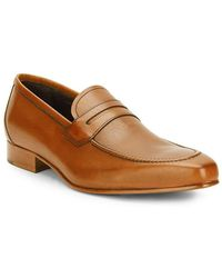 Massimo Matteo - Stacked-heel Leather Penny Loafer - Lyst
