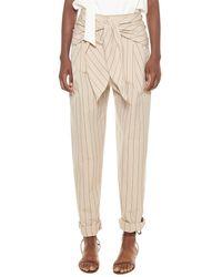 Tibi Tropical Stripe Suiting Sculpted Wool Pleat Pant - Natural