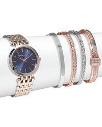 Adrienne Vittadini - Two-tone Watch & Crystal Bracelet- Set Of 5 - Lyst