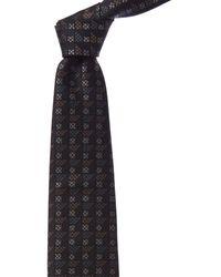 Brioni Navy Bars Silk Tie - Blue