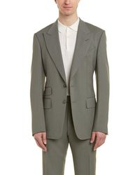 Tom Ford Shelton 2pc Wool-blend Suit With Flat Pant - Green