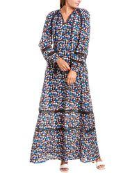 Tory Burch Printed Cotton And Silk-blend Maxi Dress Multicolour - Blue