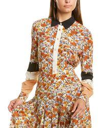 Tory Burch Patchwork Stud Silk Shirt - Orange