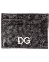 Dolce & Gabbana Dauphine Crystal & Leather Card Holder - Black
