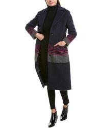 Cinzia Rocca Striped Wool & Mohair-blend Coat - Blue