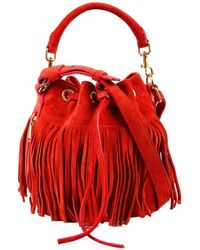 Saint Laurent Red Suede Small Emmanuelle Bucket Bag, Never Carried
