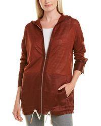 Lafayette 148 New York New York Relaxed Hooded Linen-blend Jumper Jacket - Red